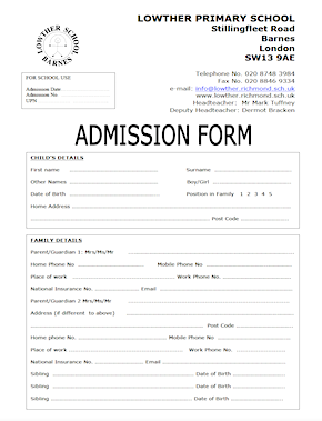 Admission Form for School PDF