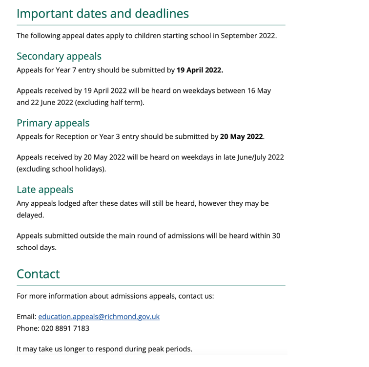 Primary & Secondary Admissions Appeals link